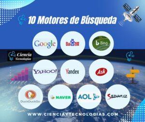 10 Motores de Búsqueda más usados, Google, Baidu, Bing, Yahoo!, Yandex, Ask, DuckDuckgo, Naver, Seznam y Aol.