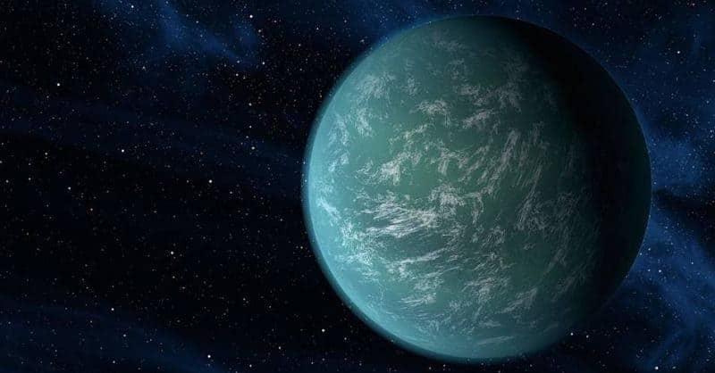 Kepler 22b Foto con nubes en su Atmósfera