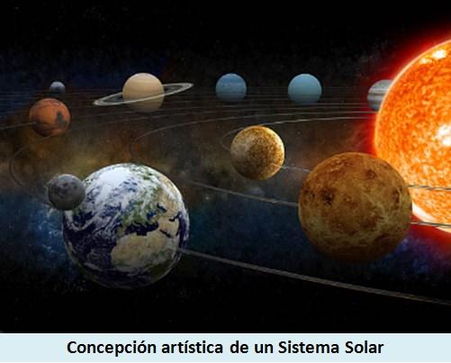 Concepción artística de un sistema solar