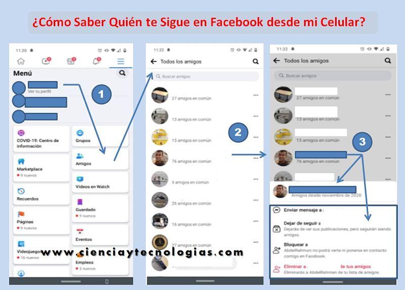 Cómo saber quién te sigue en Facebook desde mi celular