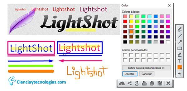 Agregar texto, líneas, cuadros, resaltar todo con diferentes colores usando el programa Lightshot