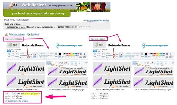 Reducir el peso o tamaño de una captura de pantalla