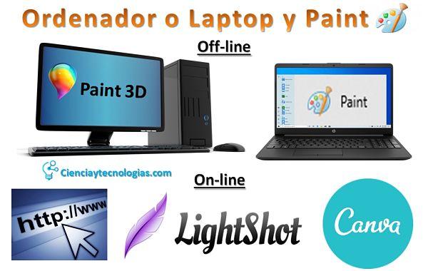 captura de pantalla con Paint Off-line y On-line con internet, lightshot más canva